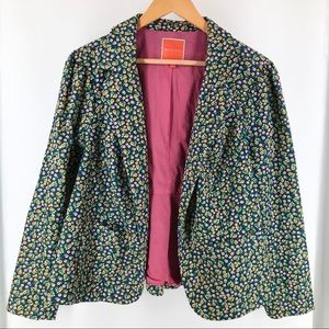 Modcloth Floral Blue Fitted Blazer